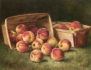 Basket of Peaches | August Laux | oil painting