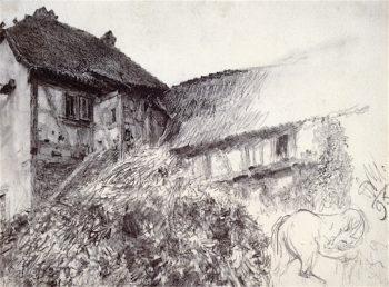 Farmhouse | Adolph von Menzel | oil painting