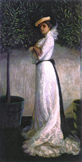 Portrait of My Sister Carrie W. Stettheimer in a White Dress | Florine Stettheimer | oil painting