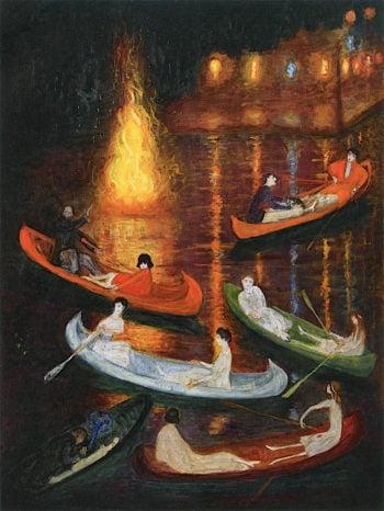 Fete on the Lake | Florine Stettheimer | oil painting