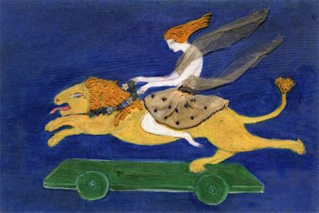 Costume Design (Woman on Lion) for Artists Ballet Orphée of the Quat - Z - Arts | Florine Stettheimer | oil painting
