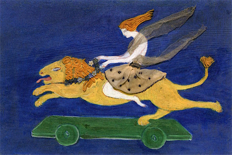 Costume Design (Woman on Lion) for Artists Ballet Orphée of the Quat - Z - Arts   Florine Stettheimer   oil painting