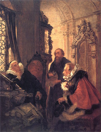 Consultation at the Advocates Office | Adolph von Menzel | oil painting