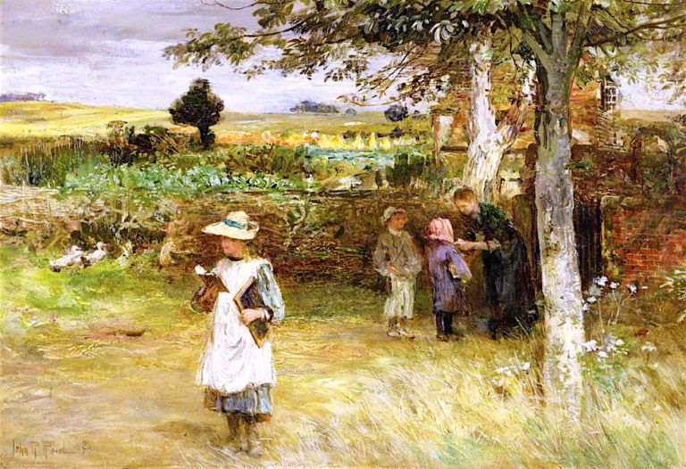 Leaving School | John Robertson Reid | oil painting