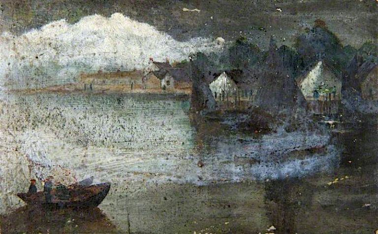 Boats at a Small Harbour   John Quinton Pringle   oil painting