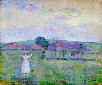 Landscape with Trees and a Girl in White | John Quinton Pringle | oil painting