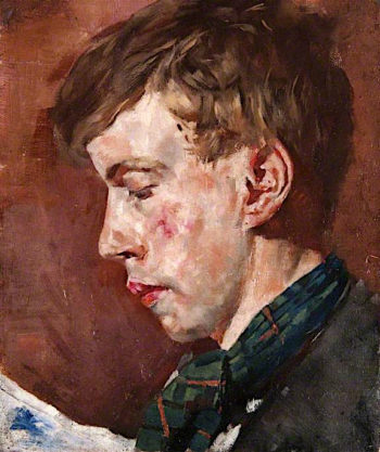 Mans Head with a Tartan Scarf | John Quinton Pringle | oil painting