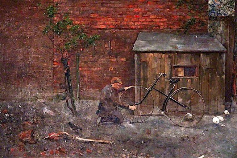 Repairing the Bicycle | John Quinton Pringle | oil painting