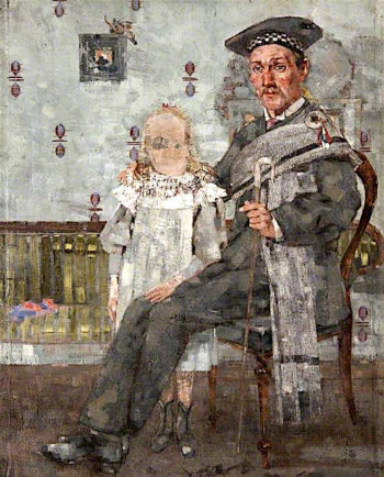 Shepherd Seated with a Small Girl | John Quinton Pringle | oil painting