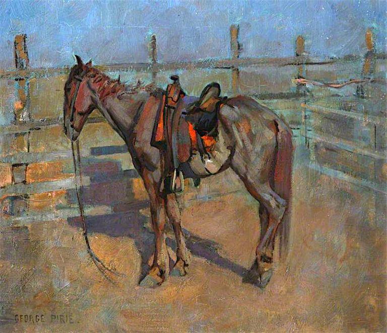 A Hard - Run Texan Cow - Horse | Sir George Pirie | oil painting