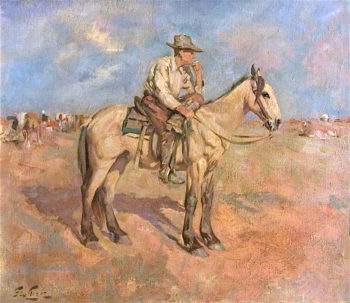 Cowboy on Guard | Sir George Pirie | oil painting