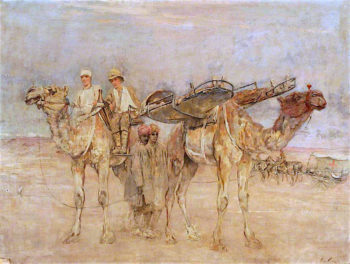 First World War -  Wounded Soldiers in Palestine Being Carried on Cacolets on the Backs of Camels | Sir George Pirie | oil painting