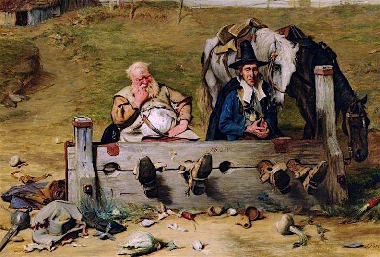 Hudibras and Ralpho in the Stocks | John Pettie