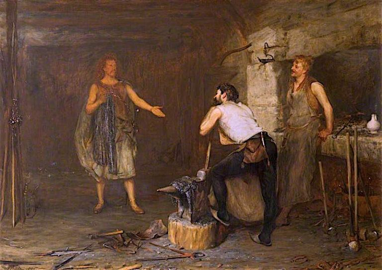 Scene in the Hal of the Wynds Smithy | John Pettie