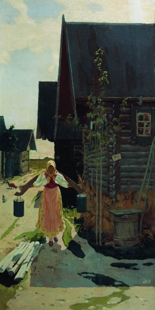 Girl with Buckets | Andrei Petrovich Riabushkin | oil painting