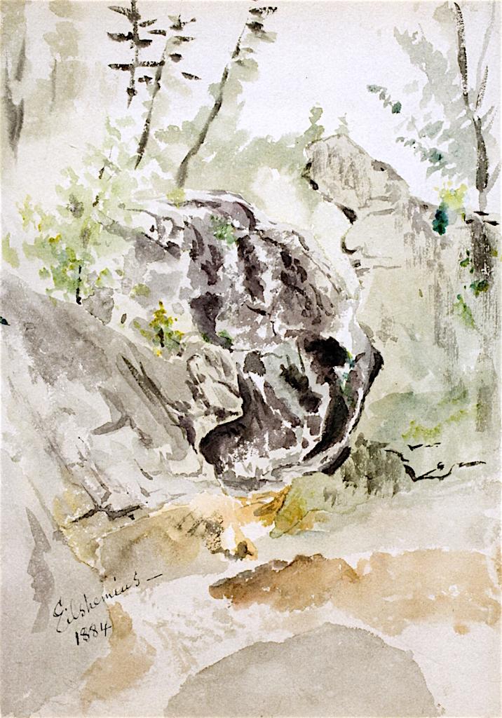 Devils Pulpit on Table River | Louis M. Eilshemius | oil painting