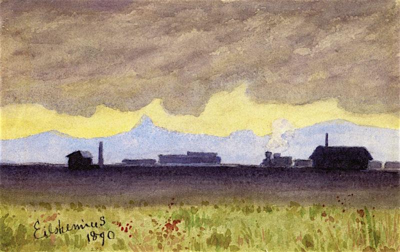 Train Landscape in Arizona | Louis M. Eilshemius | oil painting