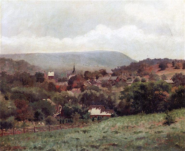 Delaware Water Gap Village   Louis M. Eilshemius   oil painting