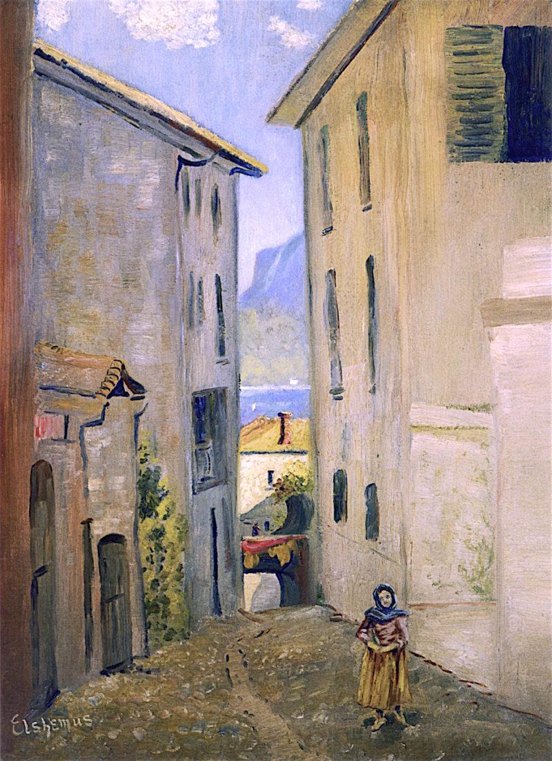 Street in Lugano   Louis M. Eilshemius   oil painting