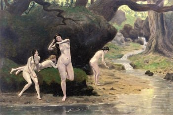 Four Nudes by a Brook | Louis M. Eilshemius | oil painting