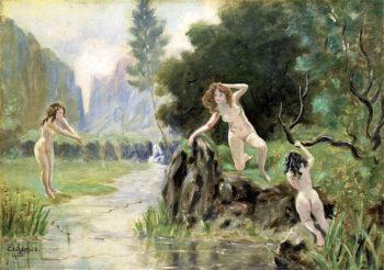 Three Girls Bathing   Louis M. Eilshemius   oil painting