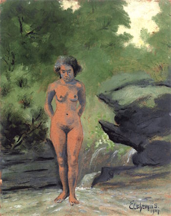 Samoan Girl in Brook | Louis M. Eilshemius | oil painting