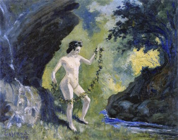 Nude with Garland | Louis M. Eilshemius | oil painting