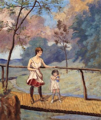 Two Girls on a Log Bridge | Louis M. Eilshemius | oil painting