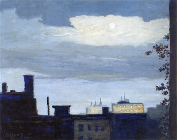 Rooftops at Moonrise | Louis M. Eilshemius | oil painting