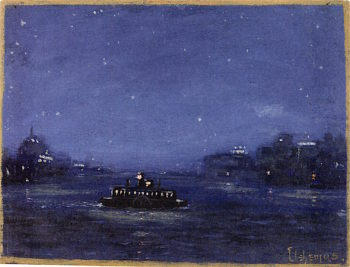 Ferryboat at Night | Louis M. Eilshemius | oil painting
