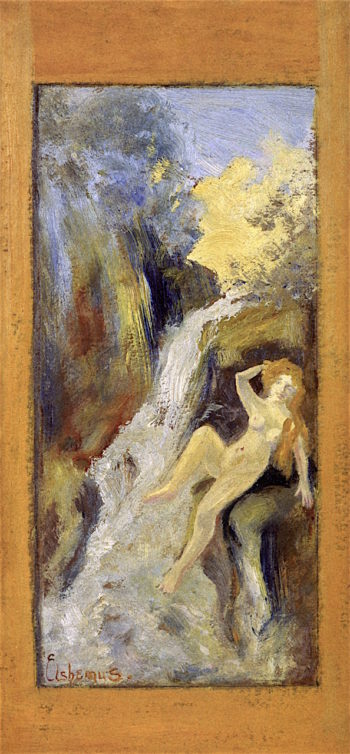 Nude by Cascade in Dell | Louis M. Eilshemius | oil painting