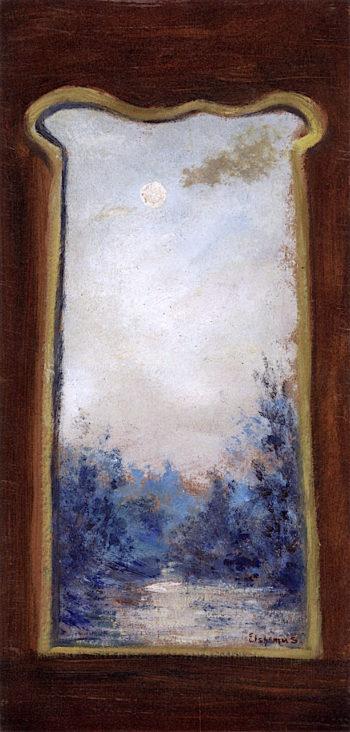 Moonlit Landscape through Keyhole | Louis M. Eilshemius | oil painting