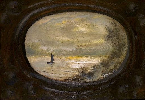 Boat through Opening | Louis M. Eilshemius | oil painting