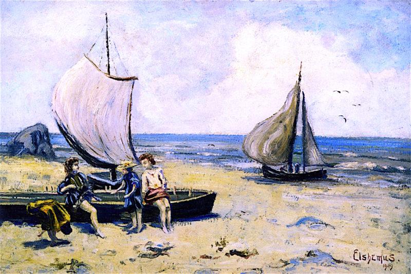Children on the Beach | Louis M. Eilshemius | oil painting