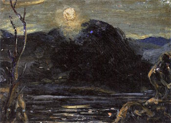 Moonlit Landscape with Figure | Louis M. Eilshemius | oil painting