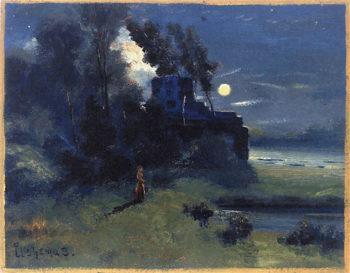 Girl in Moonlight | Louis M. Eilshemius | oil painting