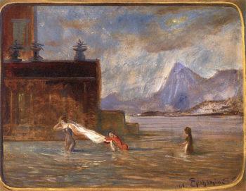 Wading Through Water | Louis M. Eilshemius | oil painting