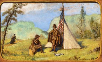Two Women in Uniform before Tent   Louis M. Eilshemius   oil painting