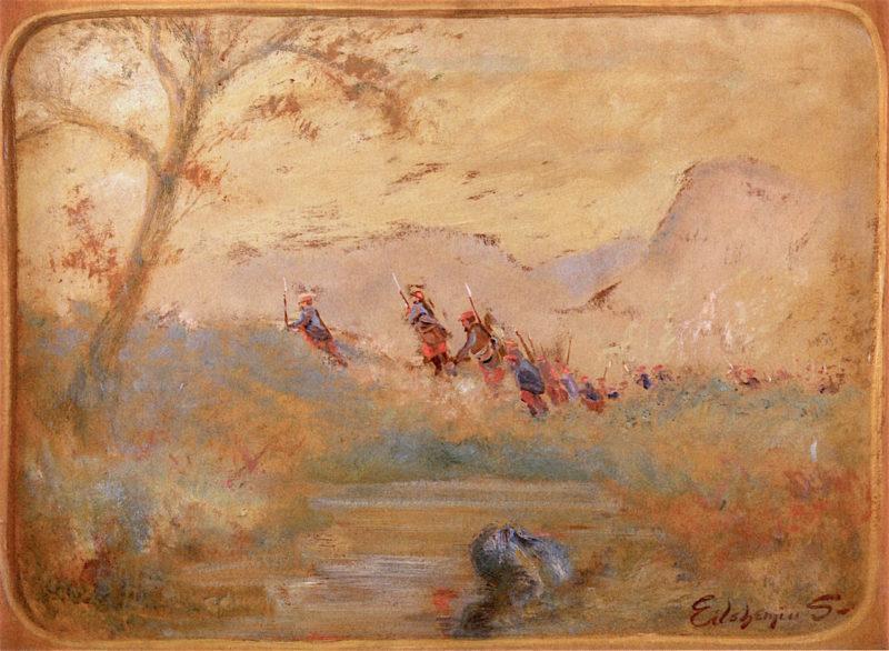 Soldiers in a Landscape | Louis M. Eilshemius | oil painting