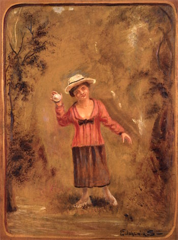 Girl Catching Ball | Louis M. Eilshemius | oil painting