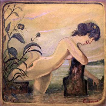 Nymph by Stump | Louis M. Eilshemius | oil painting