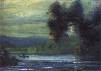 On the River by Waning Moon | Louis M. Eilshemius | oil painting