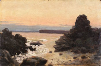Rocky Coast -  Promontory on Misty Morning | Louis M. Eilshemius | oil painting