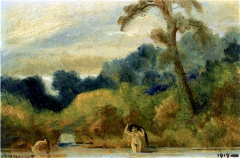 Two Bathing Nudes | Louis M. Eilshemius | oil painting