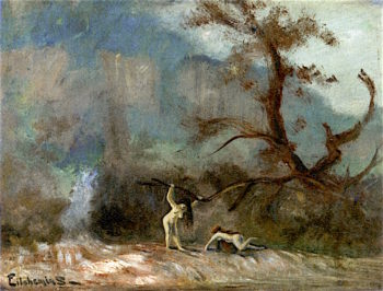 Two Nudes in Landscape | Louis M. Eilshemius | oil painting