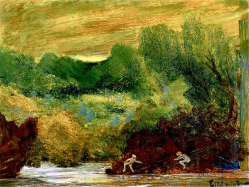 Landscape with Nude Figures by a River | Louis M. Eilshemius | oil painting