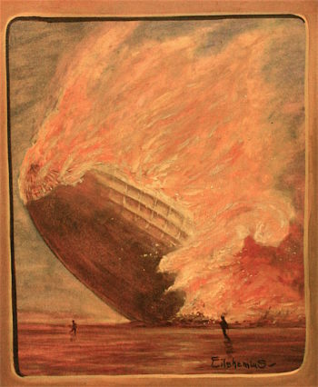 Zeppelin in Flames over New Jersey | Louis M. Eilshemius | oil painting