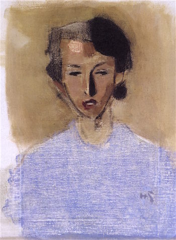 Girl in Blue and Brown (Inez) | Helene Schjerfbeck | oil painting