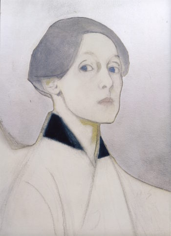 Self - Portrait with Silver Background | Helene Schjerfbeck | oil painting