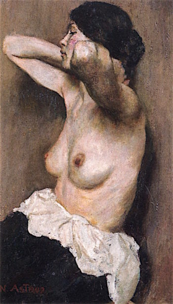 Half - Length Female Nude | Nicolai Astrup | oil painting